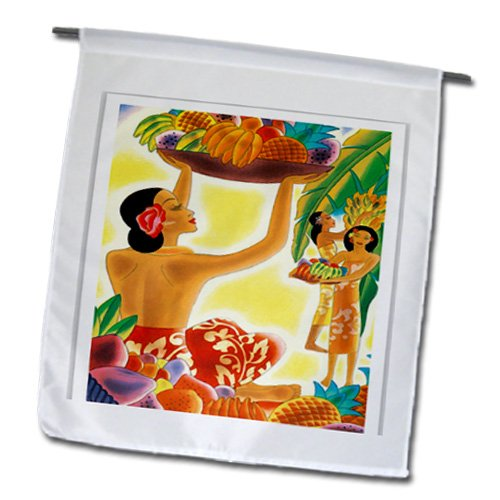 3dRose fl_181063_1 Image of Art Deco Hawaiian Ladies with Native Fruits Garden Flag, 12 by 18-Inch
