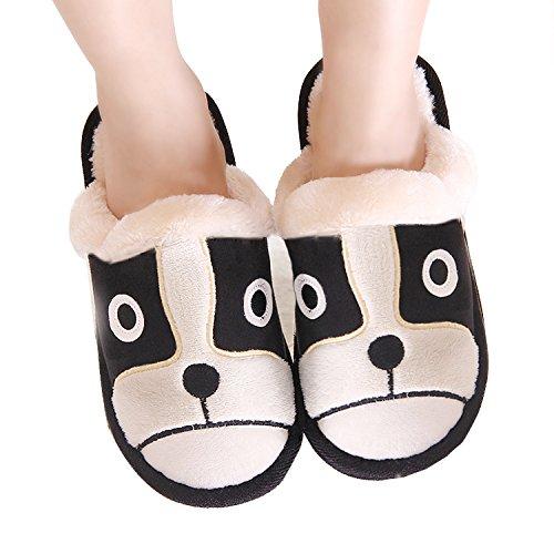 Pestor Mujeres Soft Clog Zapatillas De Interior Open Toe Plush Memory Foam House Slipper Slip On Animal Lindo Zapato De Interior Black Dog
