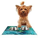 Kess InHouse Josh Serafin ''Natural High'' Blue Green Feeding Mat for Pet Bowl, 18 by 13-Inch