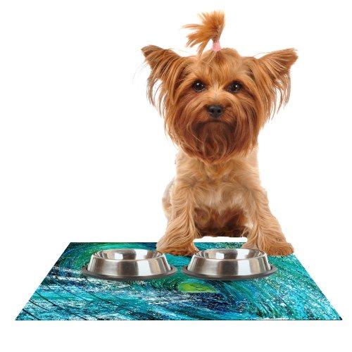 KESS InHouse Josh Serafin Natural High  bluee Green Feeding Mat for Pet Bowl, 18 by 13-Inch