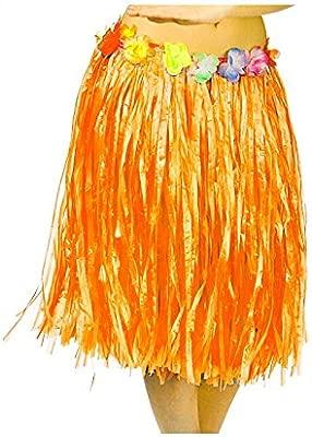 Falda Hawaiana Adulto Hula Naranja (60 cm): Amazon.es: Juguetes y ...