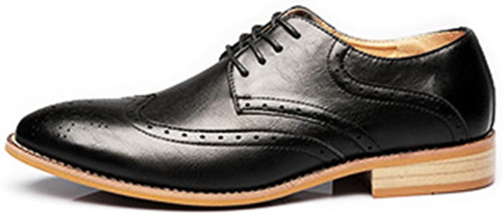 Shufang-shoes Mens Business Brogue Shoes Matte Breathable Wingtip Hollow Carving Genuine Leather Lace Up Lined Oxfords