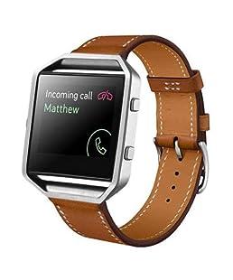 Cinturino alla moda, Scpink Cinturino dell'orologio di ricambio cinturino di ricambio in vera pelle per bracciale Fitbit Blaze Smart Fitness (Marrone)
