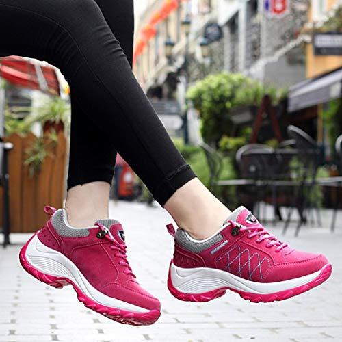 Aire Calzado Libre Zapatos Primavera QinMM Gym Running Plataforma Mujer Caliente Zapatillas Verano Deportes otoño Cordones Rosa con y para pxFnwxAq1d