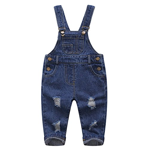 Kidscool Pure Cotton Blue/Black Baby & Toddlers Ripped Jeans Overalls