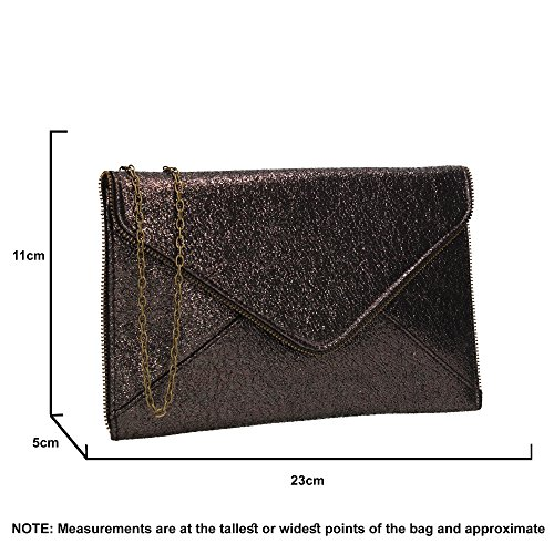 Womens Lola SWANKYSWANS Envelope Clutch Line Party Glitter Slim Pewter Bag gTTqXd