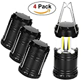 CPPSLEE 4 Pack Camping Lantern LED , Collapsible – Latest COB Technology Portable Outdoor Survival Kit for Outdoor Tabletop Lantern for Fishing, Boating & Camping – Waterproof (New Black 4 Pack)