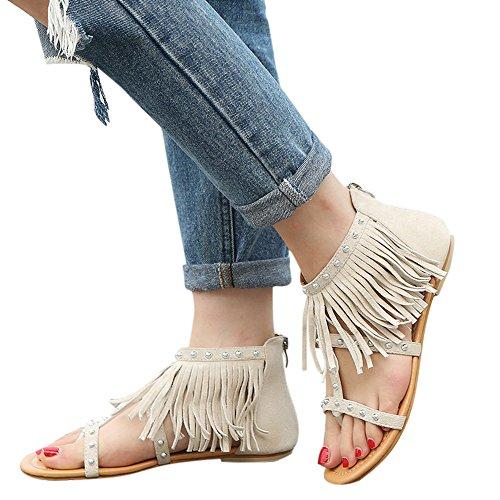 MILIMIEYIK Slip-On Sandals Women, Women's Slip On Flat with Strap Buckle Open Toe Slippers Suede Footbed Bath Slipperses Beige