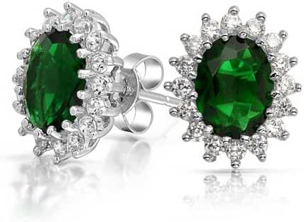 Bling Jewelry Oval Simulated Emerald CZ Flower Crown Stud Earrings Silver