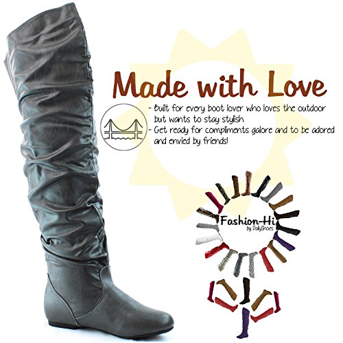 Boots Fashion M PU Pu Thigh High Grey B 7 US Knee 5 the DailyShoes Hi Over Gray SwB4q0q
