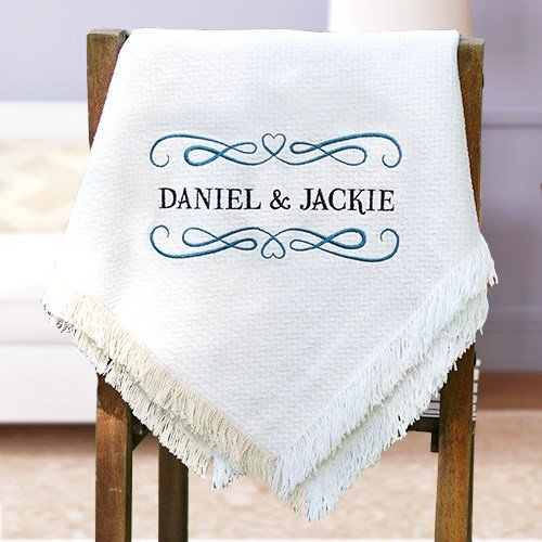 (Personalized Wedding/Couples Chenille Blanket/Afghan. Acrylic Chenille Multi 2 Layer Throw. 50
