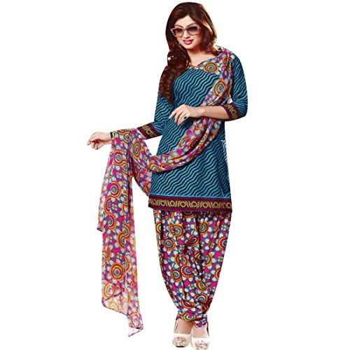 Faux Crepe Salwar Kameez - Ladyline Readymade French Crepe Printed Salwar Kameez Suit Indian