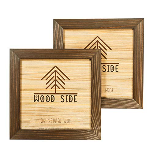 Rustic Wooden Square Picture Frames 8x8 - Set of 2-100% Natural Solid Eco Wood with Real Glass for Wall Mounting Photo Frame - Brown Wenge
