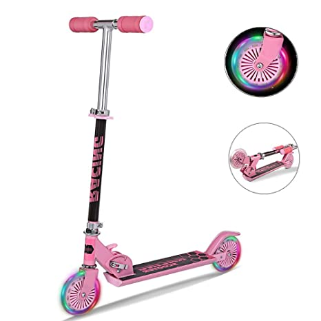 Moroly kids Scooter with LED Light Up Wheels,110lb Foldable Adjustable Height Kick Scooter for