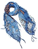 Multi Flowers Leopard Pattern Tassel Ends Sheer Square Scarf Sarong