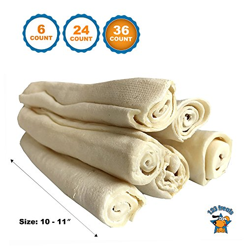 Premium Thick Rawhide Retriever Rolls for Dogs – 100% All-Natural Grass-Fed Free-Range Beef Rawhide Rolls Bulk – High-Protein Healthy Chew Treats (10-11 Inches, 36 Count – Thick) Review
