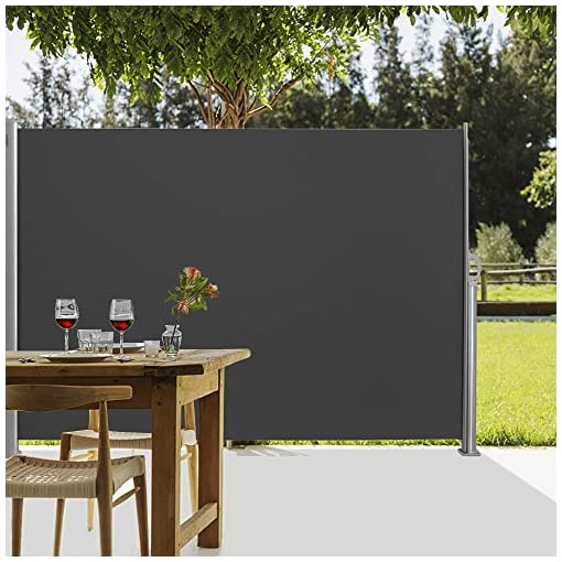 Garden and Outdoor VINGLI 63″ x 118″ Patio Retractable Side Screen Awning, Side Awning Waterproof Sun Shade Wind Screen Fence Privacy Divider with Aluminium Pole, Dark Grey patio awnings
