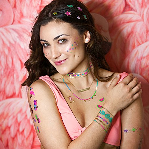Flash Tattoos FOREVER PARADISE authentic colorful metallic temporary tropical inspired jewelry tattoos 2 sheet beachy pack - includes Over 40 neon and metallic -