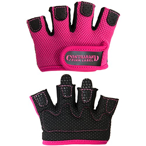 Contraband Pink Label 5537 Womens Micro Weight Lifting Gloves w/Grip-Lock Silicone Padding (Pair) - Minimalist Half Gloves - Apple Watch Friendly (Pink, Small)