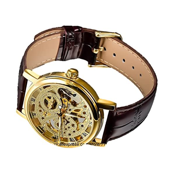 Gute Golden Steampunk Hand-Wind Mechanical Watch Ladies Skeleton Wristwatch Dark Brown PU Band 5
