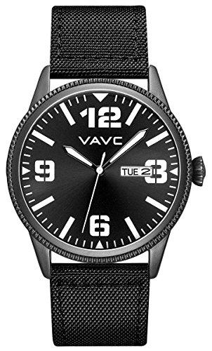 VAVC Men's Fashion Minimalist Casual Black Nylon Band Analog Quartz Wrist Watch with Black Dial