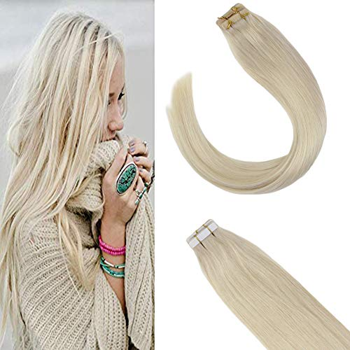 Sunny 24 inch Tape in Hair Extensions #60 Platinum Blonde 40pcs 100g Full Head Seamless Remy Human Hair Tape in Human Hair Extensions