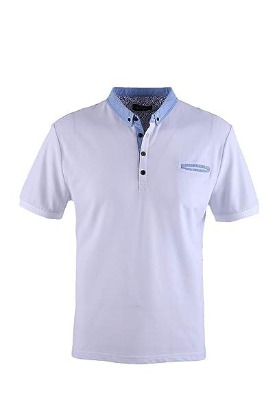 0120Voray Ga Polo Hombre algodón Granito Cuello botón y Bolsillo ...