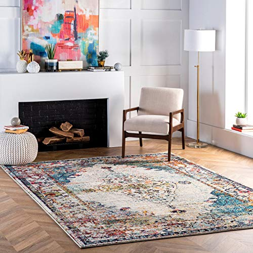 nuLOOM Veronica Vintage Distressed Area Rug, 6′ 7″ x 9′, Blue