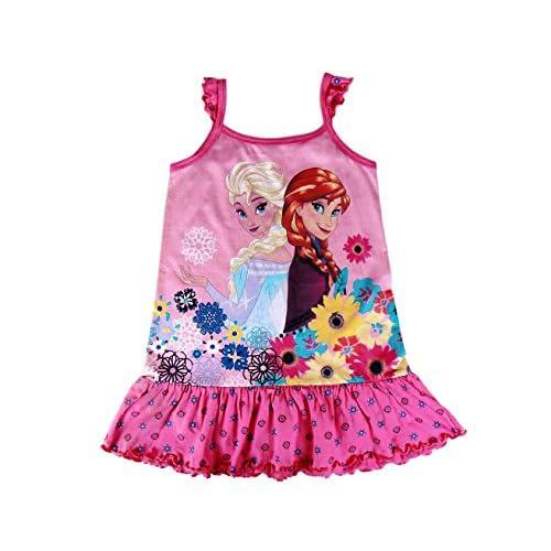 23dc1de43 Durable Modelando 22-1968 Vestido de algodón para niña de FROZEN de Elsa y  Anna