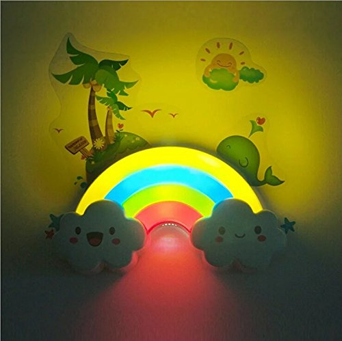 (2016 Newest LED Rainbow Colorful Night Light Voice&Light Control Decorative Lights Baby Bedside Lamp Children Present/Toy Batteries Powered)