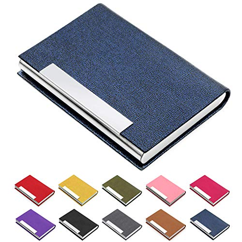 Business Card Holder, Business Card Case Luxury PU Leather & Stainless Steel Multi Card Case,Business Card Holder Wallet Credit Card ID Case/Holder for Men & Women. (Blue) (Best Business Credit Card Bonus)