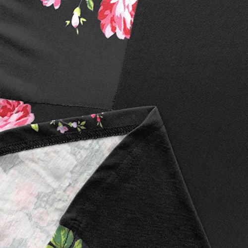 Short Loose Dress Women's Pocket T Patchwork Shirt Sleeve with Dress Floral Casual Ancapell Midi Black Ex0qwBYpTw