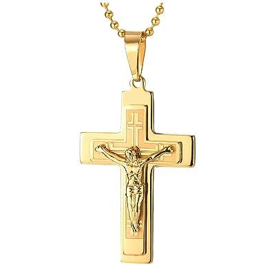 e9c1b3874dfc iMETACLII Tres Capas Oro Color Jesucristo Crucifijo Cruz