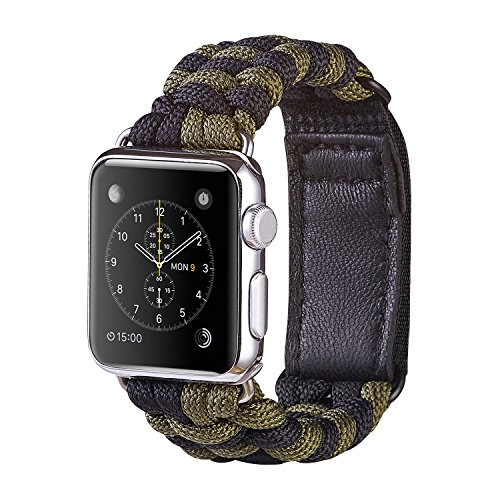 XUANTAI Apple Watch Band M/L Fashion Handmade 550 Paracord Bracelet Replacement iWatch Bands Strap for Apple Watch Series 3/2 / 1 42mm - Black/Olive Green