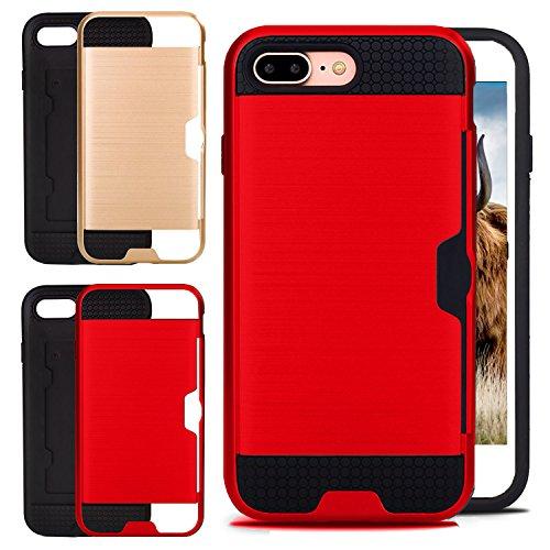 Caja de la Tarjeta IPhone 8 Plus con 2 Cubiertas Intercambiables Rojo y Oro Rosa Cubierta de Absorción de Alta Calidad Mejor Protección de Parachoques para las Gotas Accidentales, Garantía de SWISS-QA Rojo Card Case