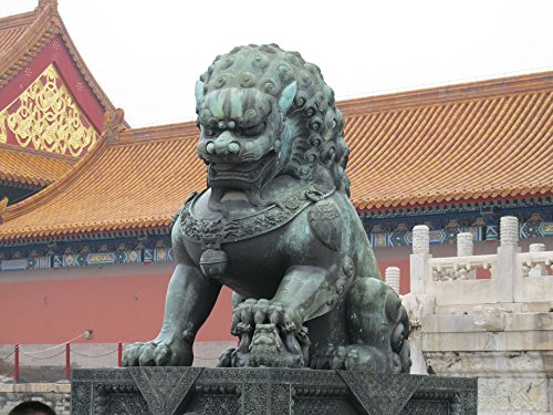 (Home Comforts Acrylic Face Mounted Prints Statue Copper China Lion Sculpture Monument Print 18 x 24. Worry Free Wall Installation - Shadow Mount is Included.)