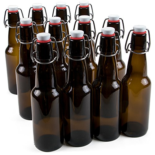 Brewing Root Beer - 11 oz. Grolsch Glass Beer Bottle - Airtight Swing Top Seal Storage for Home Brewing of Alcohol, Kombucha Tea, Homemade Soda by Cocktailor (12-pack)