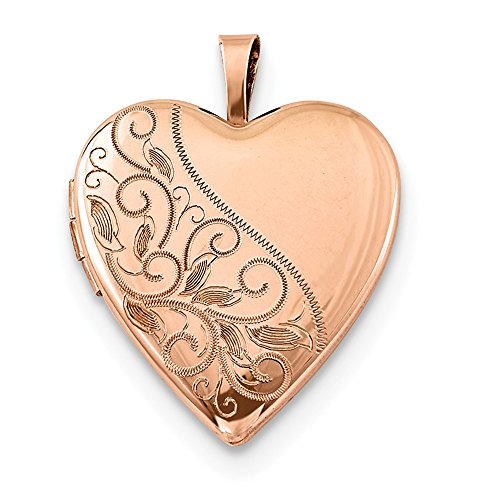 Jewelryweb 925 Sterling Silver Rose Gold-Flashed Swirl and Polished Heart Locket Necklace