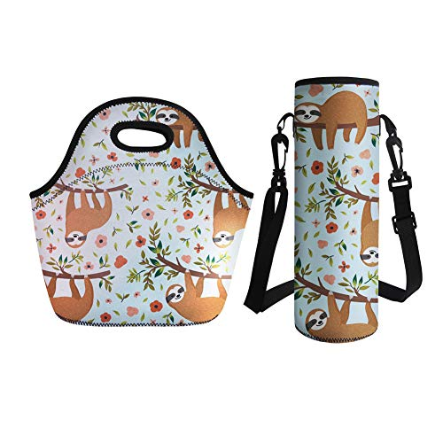 Coloranimal Thermal Insulated Lunch Tote Bag with Big Water Bottle Sleeve Organizer 2 Piece Set-Animal Sloth Design
