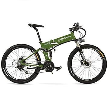 LANKELEISI Batería de Litio Oculta XT750 240W 36V 12.8Ah, Bicicleta eléctrica Plegable de 26&quot
