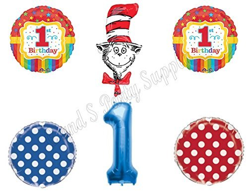 1st DR. SEUSS Cat In The Hat Birthday Party Balloons Decoration Supplies First ()