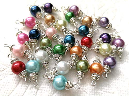 Beading Station 30pcs Handcrafted Glass Pearl Preserved Pieces with Silver Wires and Crystal Spacers (Mix ()