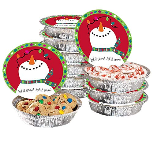 Tin Cookie Snowman (Gia's Kitchen 24 pc Snowman Round Foil Container Set, 12 containers 12 lids)