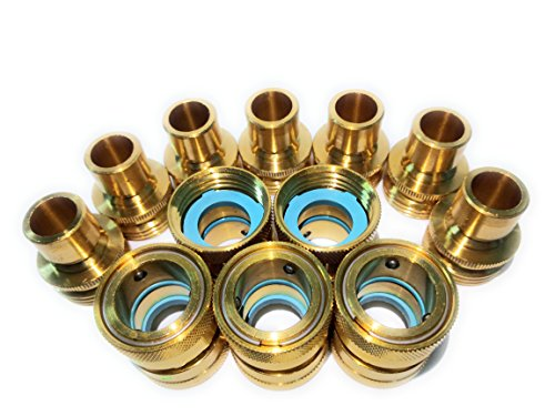 Garden Hose Quick Connect Set, Solid Brass, Extra 25 Washers, 5 Female Connectors + 7 Male Connectors. by Hose Brass