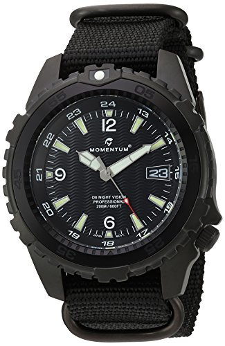 M1 Mens Dive Watch (Momentum Men's 'Night Vision' Quartz Stainless Steel and Nylon Diving Watch, Color:Black (Model: 1M-DV68B7B))