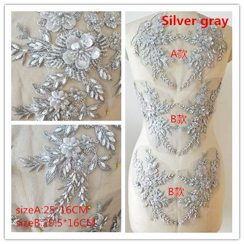 Hand Beaded Flower Sequence 3D Lace Applique Motif Sold by 3 Pairs Great for DIY Decorated Craft Sewing Costume Evening Bridal Top A6 (Silver) ()