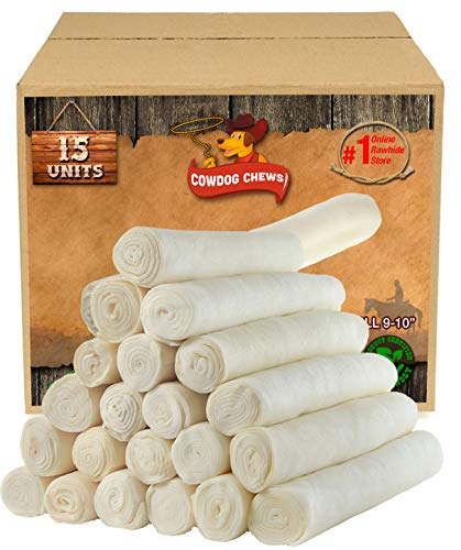 Retriever Roll 9-10 inches (15 Pack) Extra Thick Dog Treat Chew - Large and Medium - Inch 10 Bones Rawhide Natural