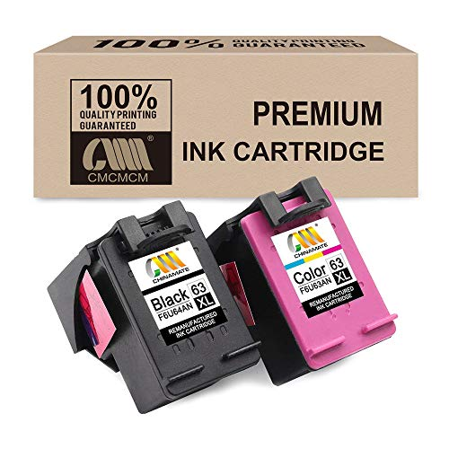 CMCV Remanufactured Ink Cartridge Replacement for HP 63XL ( Black,Cyan,Magenta,Yellow , 2-Pack ) by CMCV