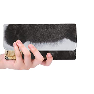 f13767e23f18f6 Image Unavailable. Image not available for. Color: Unique Custom American Black  Bear Cub Climbing Playing Women Trifold Wallet ...