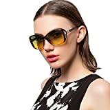RAKISH Polarized Night Vision Driving Glasses for Women Anti Glare UV Protection Sunglasses (Brown, Yellow-green)